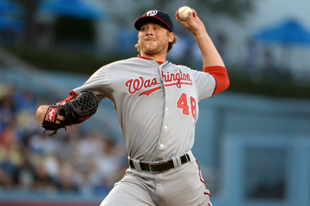 May 15, 2013; Los Angeles, CA, USA; Washington Nationals starter Ross Detwiler (48) delivers a pitch against the Los Angeles Dodgers at Dodger Stadium.