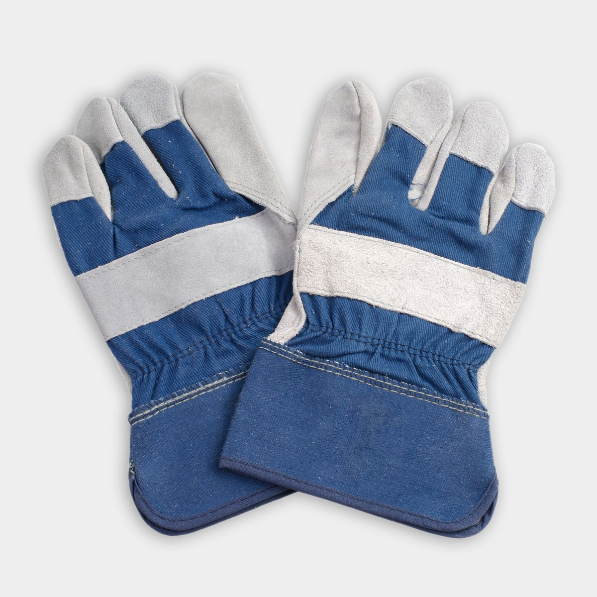 Blue and gray work gloves
