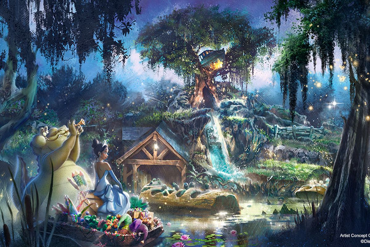 concept art of a revamp of Splash Mountain designed after Princess and the Frog