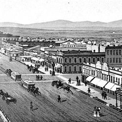 Drawing made about 1880 shows the view looking south on Main Street at 100 South. Salt Lake's wide streets were a departure from those in most Eastern cities.
