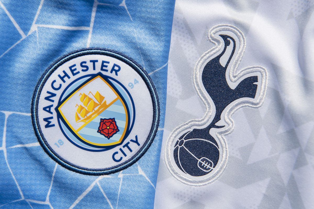 The Manchester City and Tottenham Hotspur Club Badges