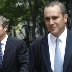 """Shepard Fairey, left, leaves Manhattan Federal court in New York with his attorney, Dan Gitner, Friday, Sept. 7, 2012. Fairey, who created the """"HOPE"""" poster that came to symbolize Barack Obama's 2008 presidential campaign, was sentenced Friday to two years of probation and 300 hours of community service for destroying and fabricating documents in a civil lawsuit pertaining to The Associated Press photograph he relied upon to make the poster."""