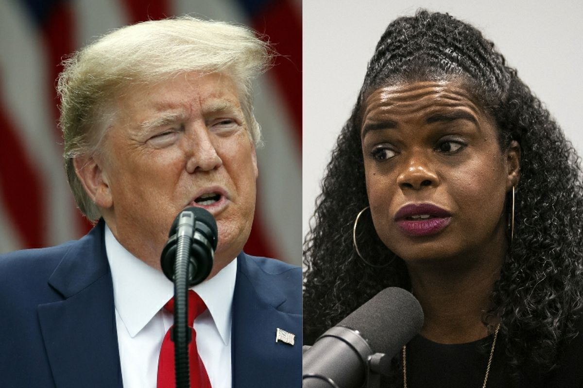 President Donald Trump, left, speaks in the Rose Garden of the White House on Friday; Cook County State's Attorney Kim Foxx, right, in March.