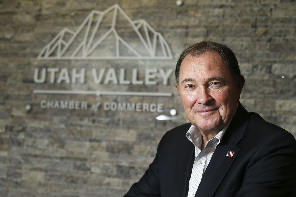 Former Utah Gov. Gary Herbert is photographed at the Utah Valley Chamber of Commerce in Provo on Thursday, May 6, 2021. Herbert will serve as the chamber's executive chairman with specific responsibilities to cultivate potential new relationships and nurture current ones with the chamber while assisting in executing its strategic plan.