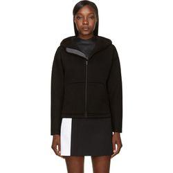 "<b>T by Alexander Wang</b> hoodie, <a href=""https://www.ssense.com/women/product/t_by_alexander_wang/black-double-knit-leather-trim-scuba-hoodie/111840"">$198</a>"