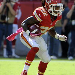 Kansas City Chiefs wide receiver Dexter McCluster (22) returns a punt against the Oakland Raiders in the second half at Arrowhead Stadium. Kansas City won the game 24-7.
