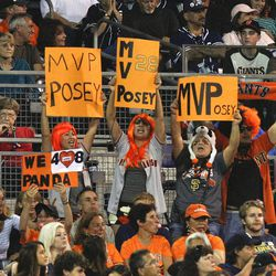 San Francisco Giants fans show their support for Buster Posey during the Giants' baseball game against the San Diego Padres on Saturday, Sept. 29, 2012, in San Diego.