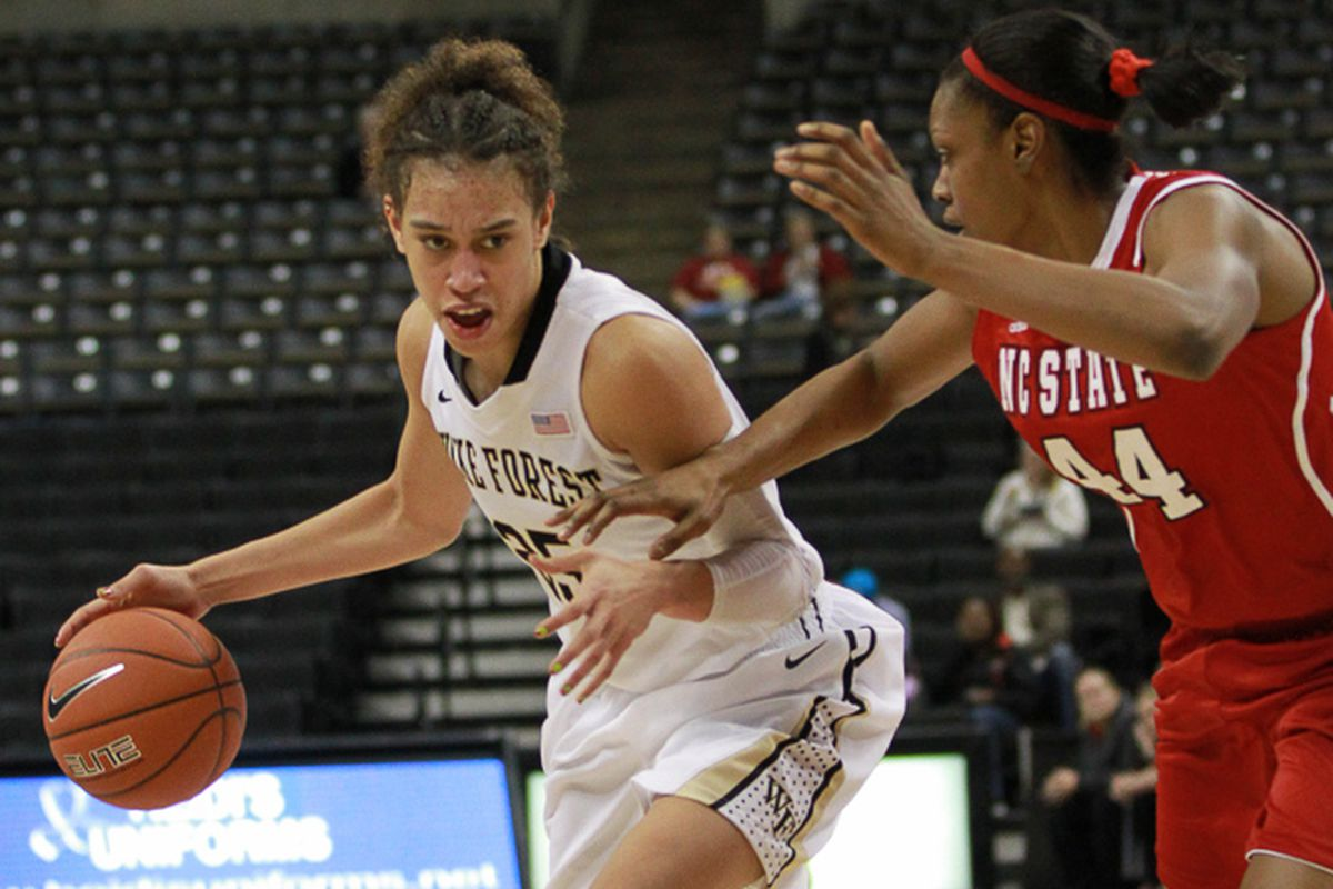 Dearica Hamby drives to the basket against N.C. State's Kody Burke