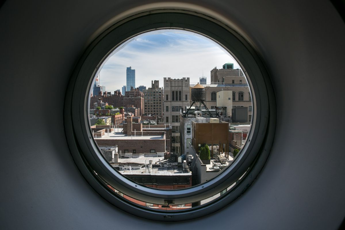 NEW YORK, NY - JUNE 9:  A view out the porthole window of the nautically-themed Maritime Hotel, located on 16th Street at 9th Avenue in the Meatpacking District, is viewed on June 9, 2017 in New York City.  With a full schedule of conventions and major sporting events taking place around the island of Manhattan each week, millions of global visitors will converge on New York City this year. (Photo by George Rose/Getty Images)