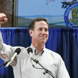 In this March 7, 2012 photograph, Republican presidential candidate former Pennsylvania Sen. Rick Santorum salutes supporters at the Mississippi Agriculture and Forestry Museum in Jackson, Miss. Santorum has strong support among many conservative Christians in the state which his campaign hopes results in winning the Mississippi primary, on Tuesday, March 13.