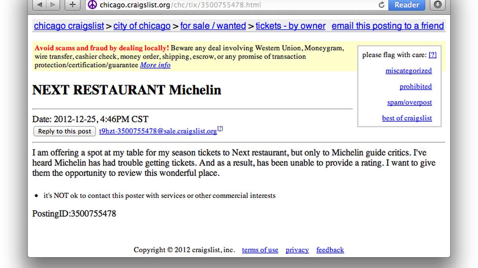 Craigslist Post Offers Next Season Ticket To Michelin Eater