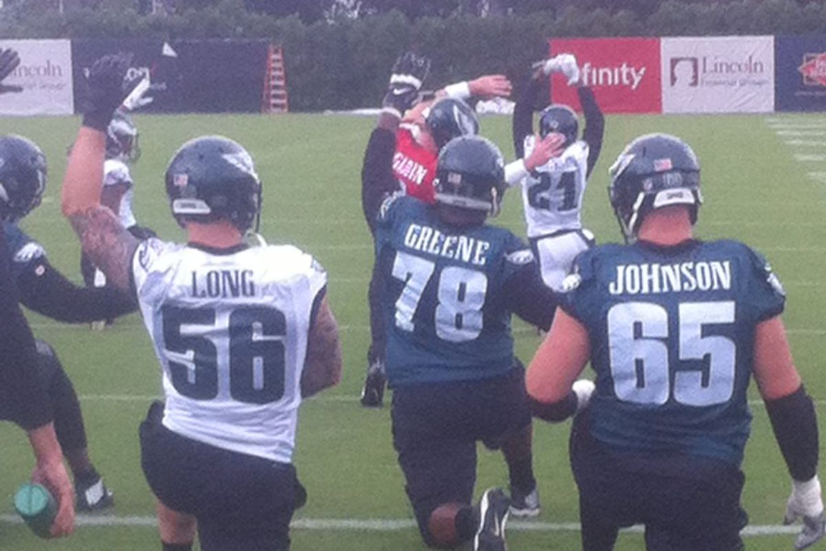 Chris Long prompted Lane Johnson to stand next to him during