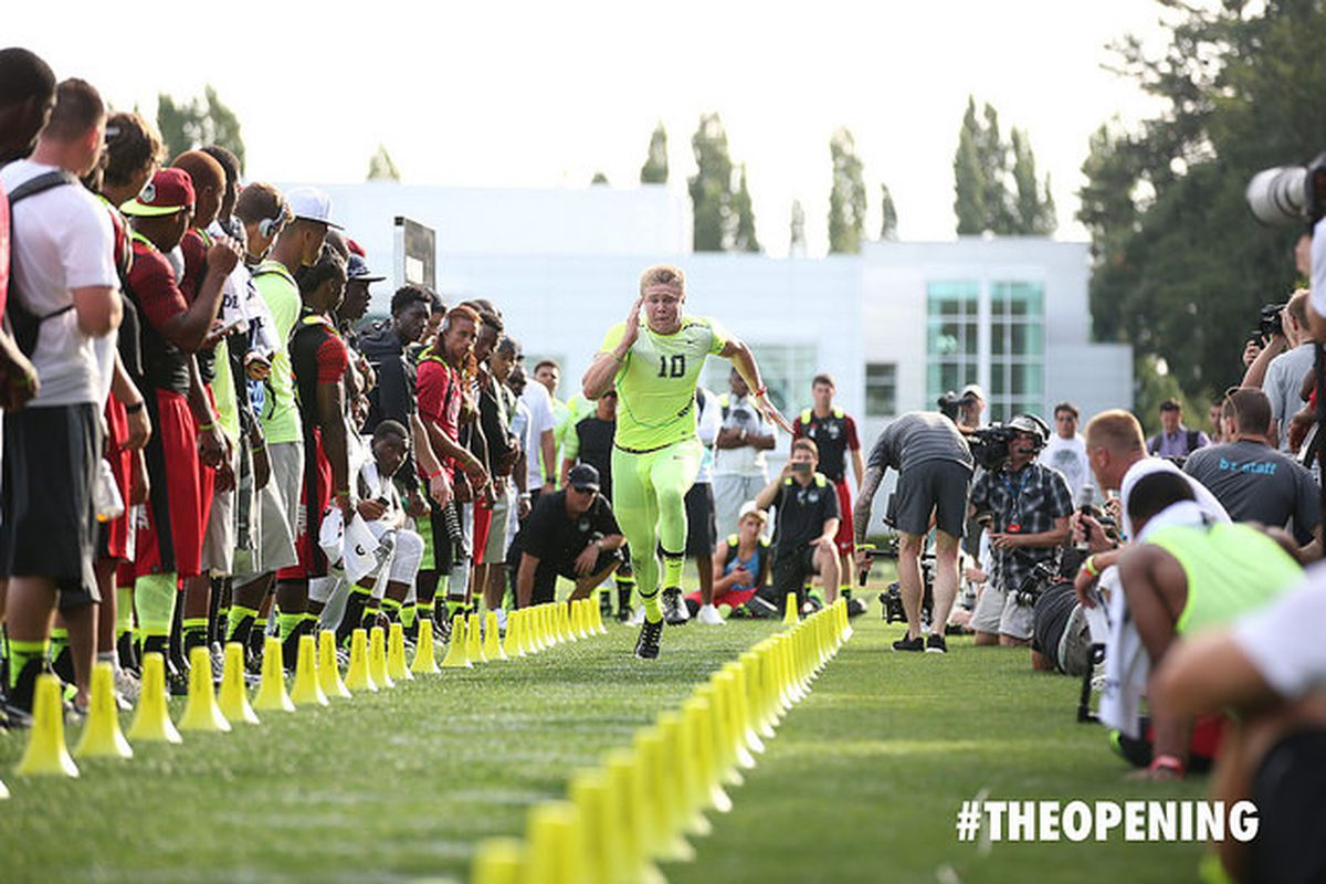 USC signee Porter Gustin running during SPARQ testing at The Opening.