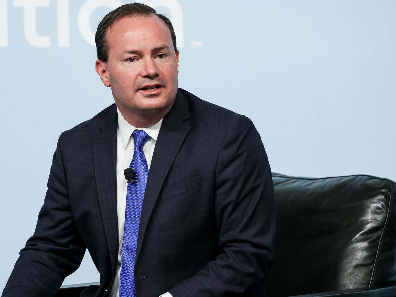 Sen. Mike Lee, R-Utah, speaks at the Human Trafficking Policy and Education Summit at the Malouf Foundation.