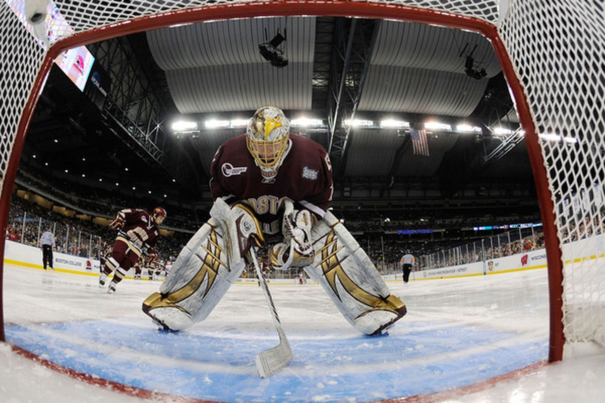 John Muse looks to backstop the Eagles to back-to-back Beanpot Championships tonight against Northeastern. (Photo by Elsa/Getty Images)