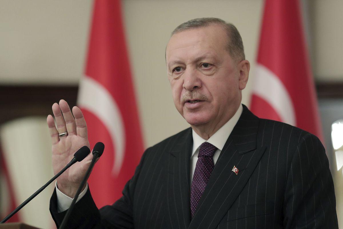 Turkey's President Recep Tayyip Erdogan addresses ambassadors of EU nation, in Ankara, Turkey, Tuesday, Jan. 12, 2021.