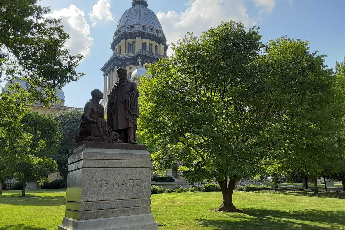 Sculpture of Pierre Menard and an unnamed Native American outside the state Capitol in Springfield.