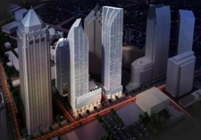 A series of skyscrapers with a black backdrop shown in a rendering.