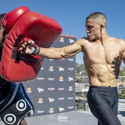Aaron Pico at the Bellator 214 open workouts at Viacom Hollywood HQ in Hollywood, Calif.