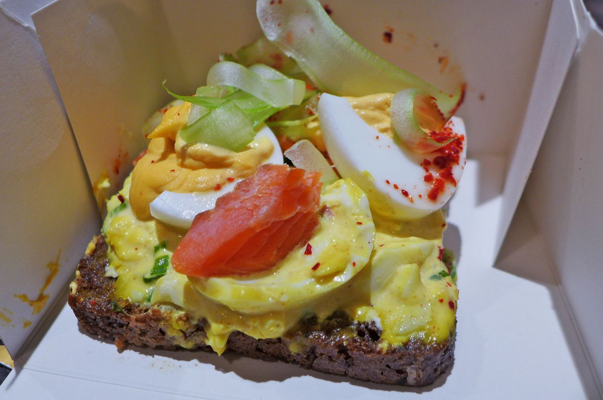 Open face smoked trout sandwich