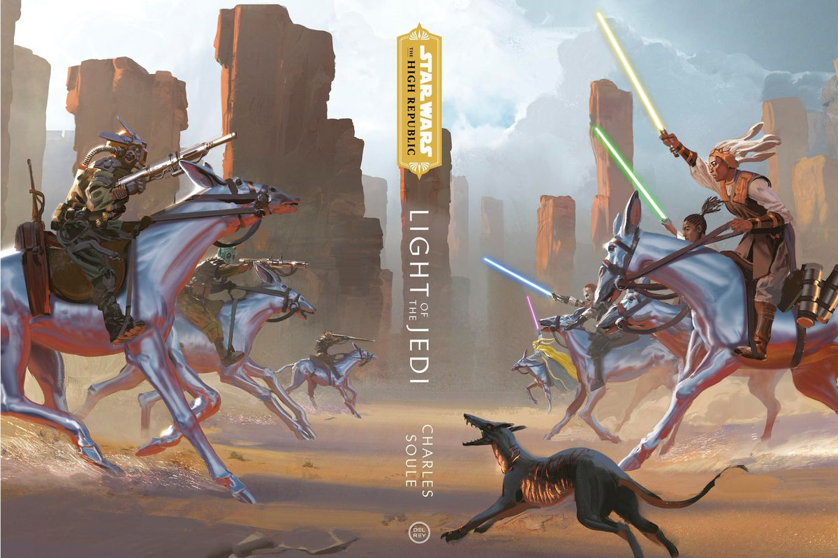 Light of the Jedi special edition cover of jedi on horseback riding into battles with lightsabers in the air