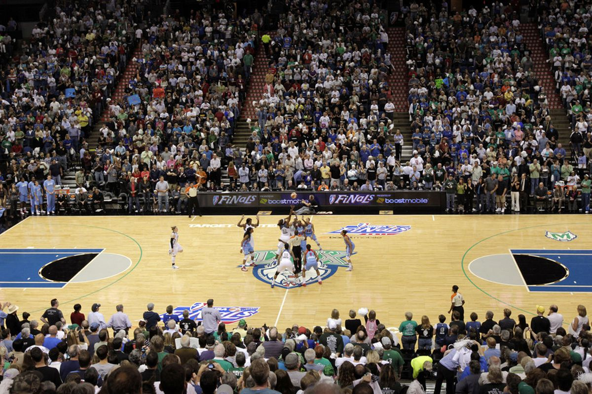 The WNBA Finals Game 1 crowd of 15,258 at the Target Center in Minneapolis was the second-largest in Lynx franchise history. (photo courtesy of WNBA/Samantha Tager)