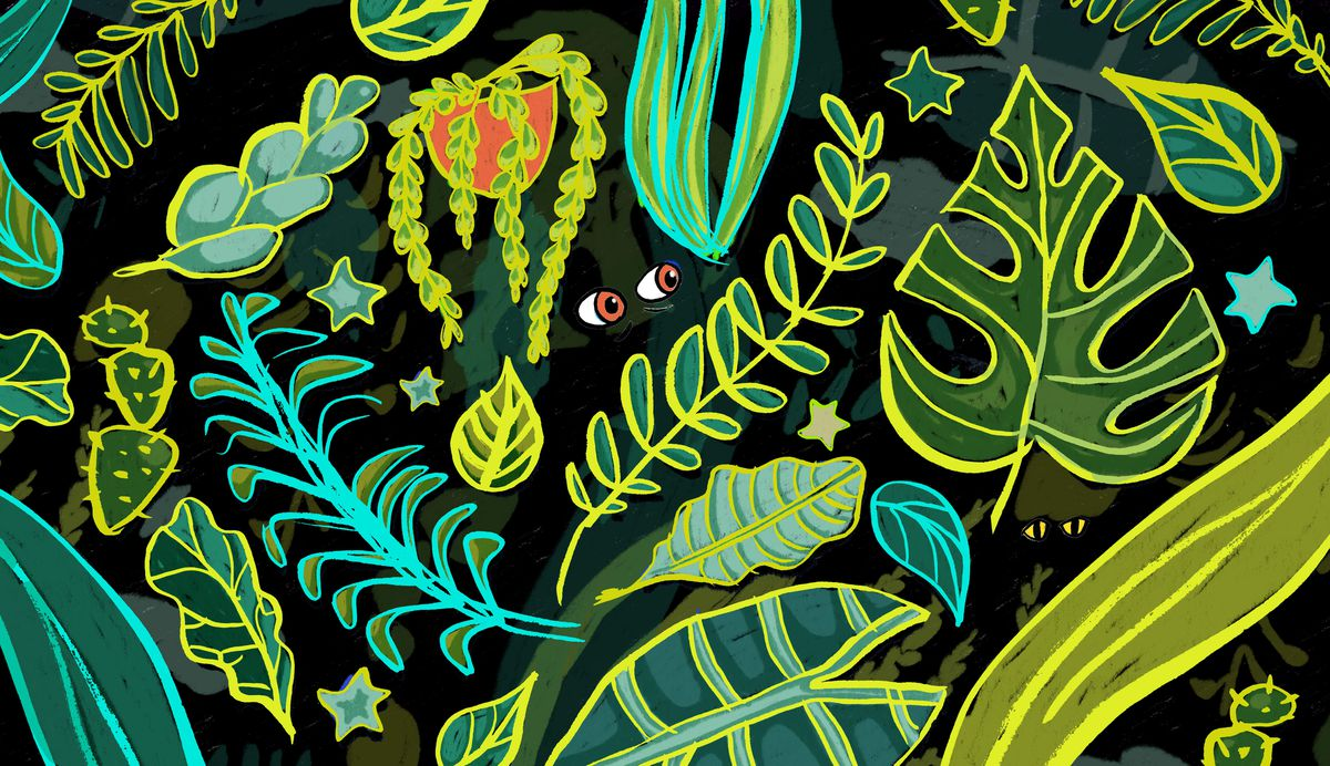 a illustration of many leaves and greens with a tiny pair of eyes in the darkness