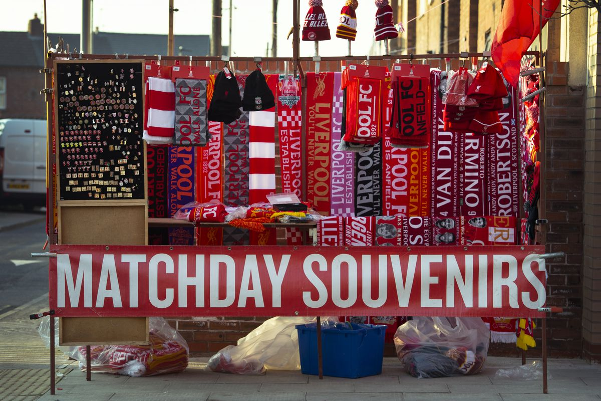 Matchday souvenirs for sale before the Premier League match between Liverpool FC and Watford FC at Anfield on February 27, 2019