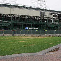 Construction barricades along the west side of the ballpark, intruding into part of Gallagher Way