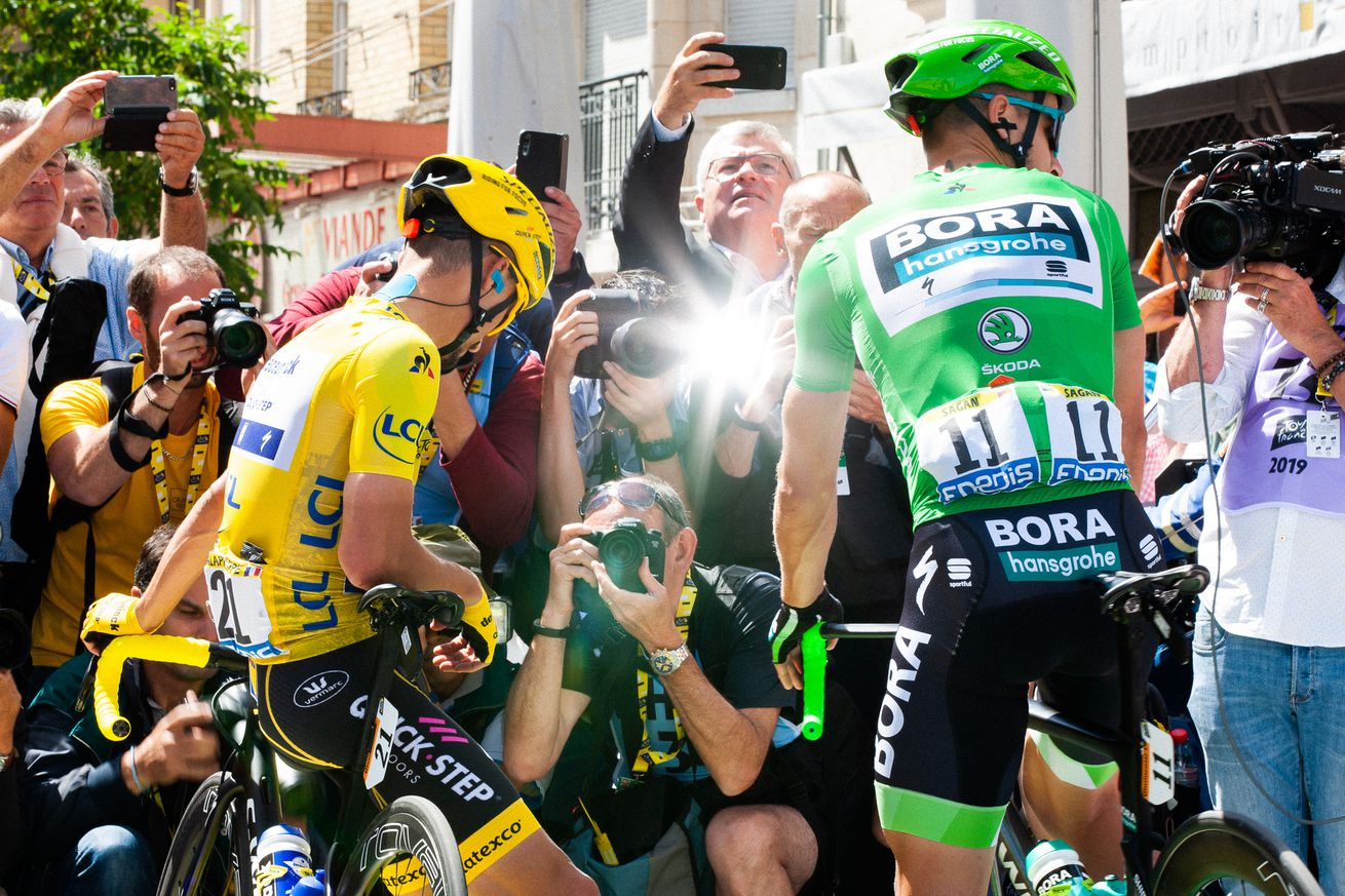 Julian Alaphilippe in yellow and Peter Sagan in green ahead of Stage 4 of the 2019 Tour de France, which ran 213.4 kilometers across flat ground from Reims to Nancy.