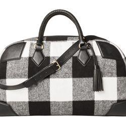 Shearling Weekender Bag in Black/White  Plaid, $49.99