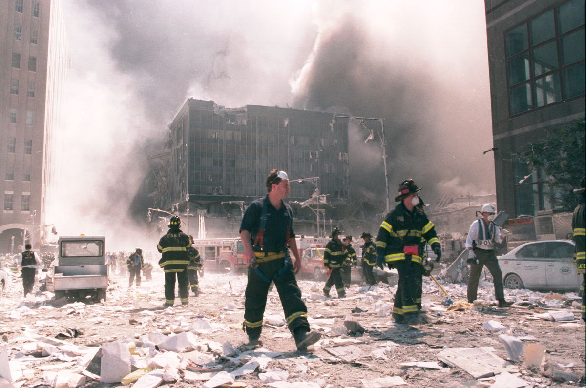 the street after 9/11 with emergency workers