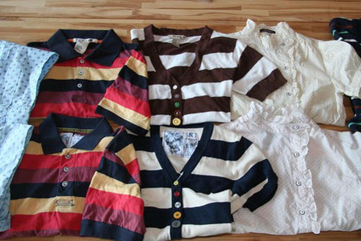 """Top row: Forever 21.  Bottom row: Trovata.  Image via <a href=""""http://www.wwd.com/retail-news/trovata-forever-21-copying-case-set-for-trial-2101514?browsets=1239626387453"""">WWD</a>"""