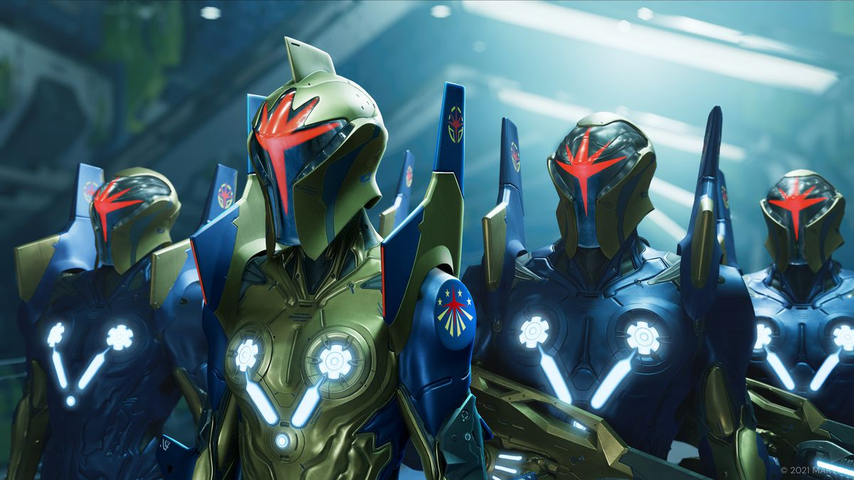 Four helmeted centurions in Nova Corps side by side