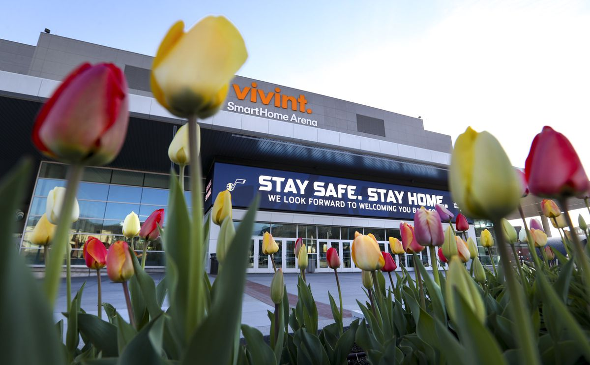 """The marquee at Vivint Smart Home Arena in Salt Lake City reminds people to """"stay safe, stay home"""" on Tuesday, April 14, 2020."""