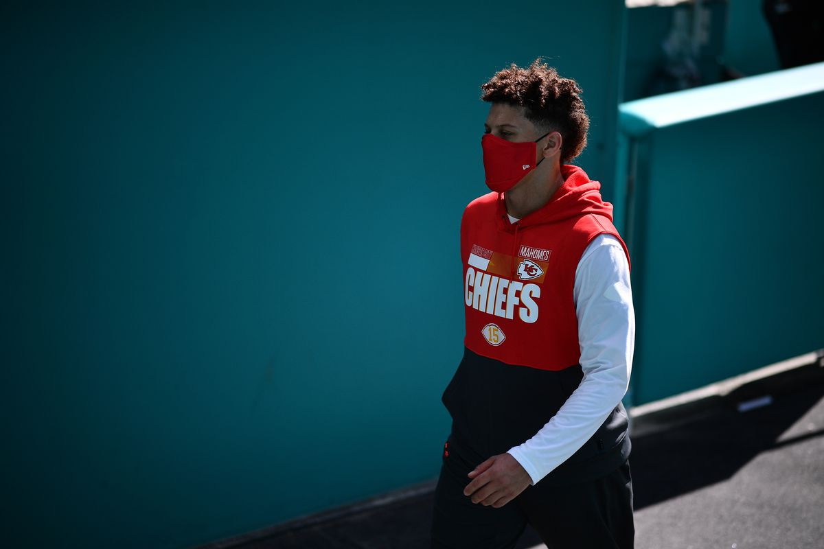 Patrick Mahomes #15 of the Kansas City Chiefs looks on before the game against the Miami Dolphins at Hard Rock Stadium on December 13, 2020 in Miami Gardens, Florida.