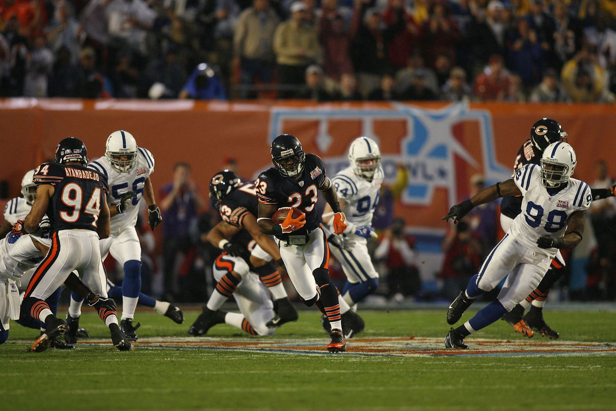 The Bears' Devin Hester returns the opening kickoff of the Super Bowl for a touchdown 17 years ago.
