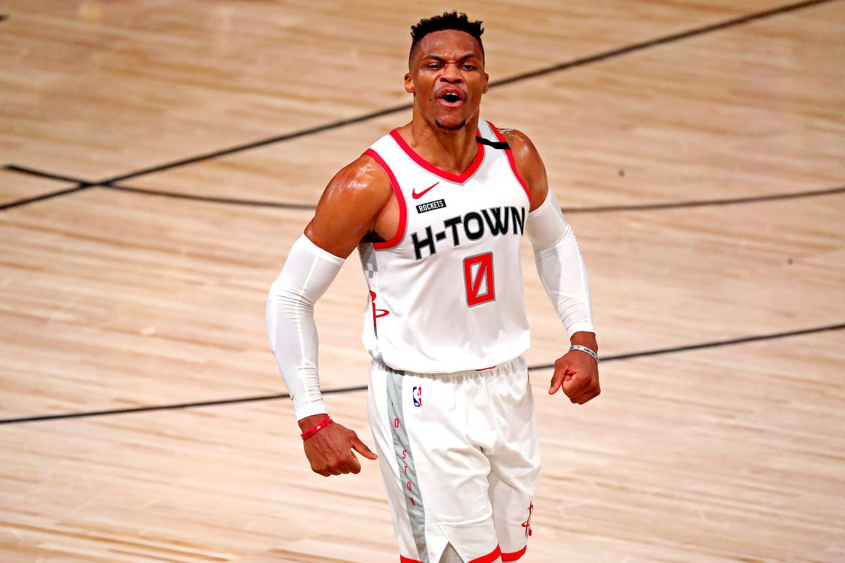 Houston Rockets guard Russell Westbrook reacts after a play during the fourth quarter against the Los Angeles Lakers in game one of the second round of the 2020 NBA Playoffs at AdventHealth Arena.