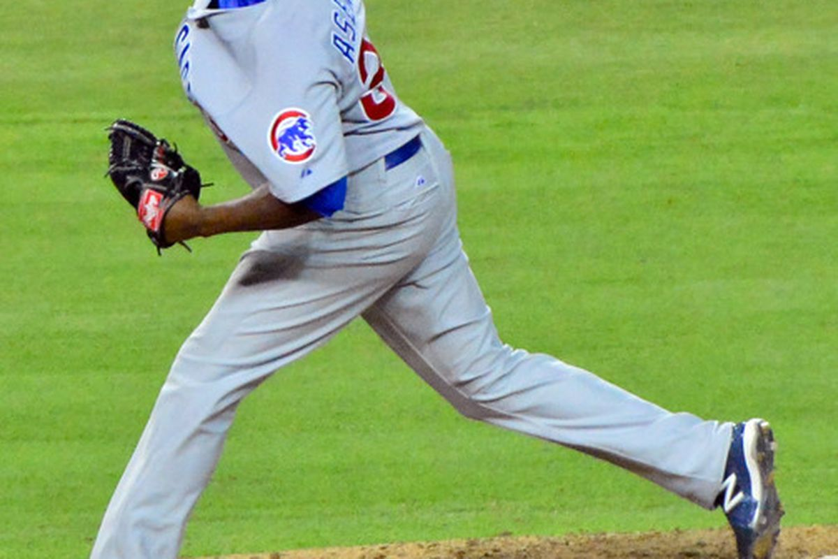 Phoenix, AZ, USA; Chicago Cubs relief pitcher Jairo Asencio (37) throws during the seventh inning against the Arizona Diamondbacks at Chase Field. Credit: Matt Kartozian-US PRESSWIRE