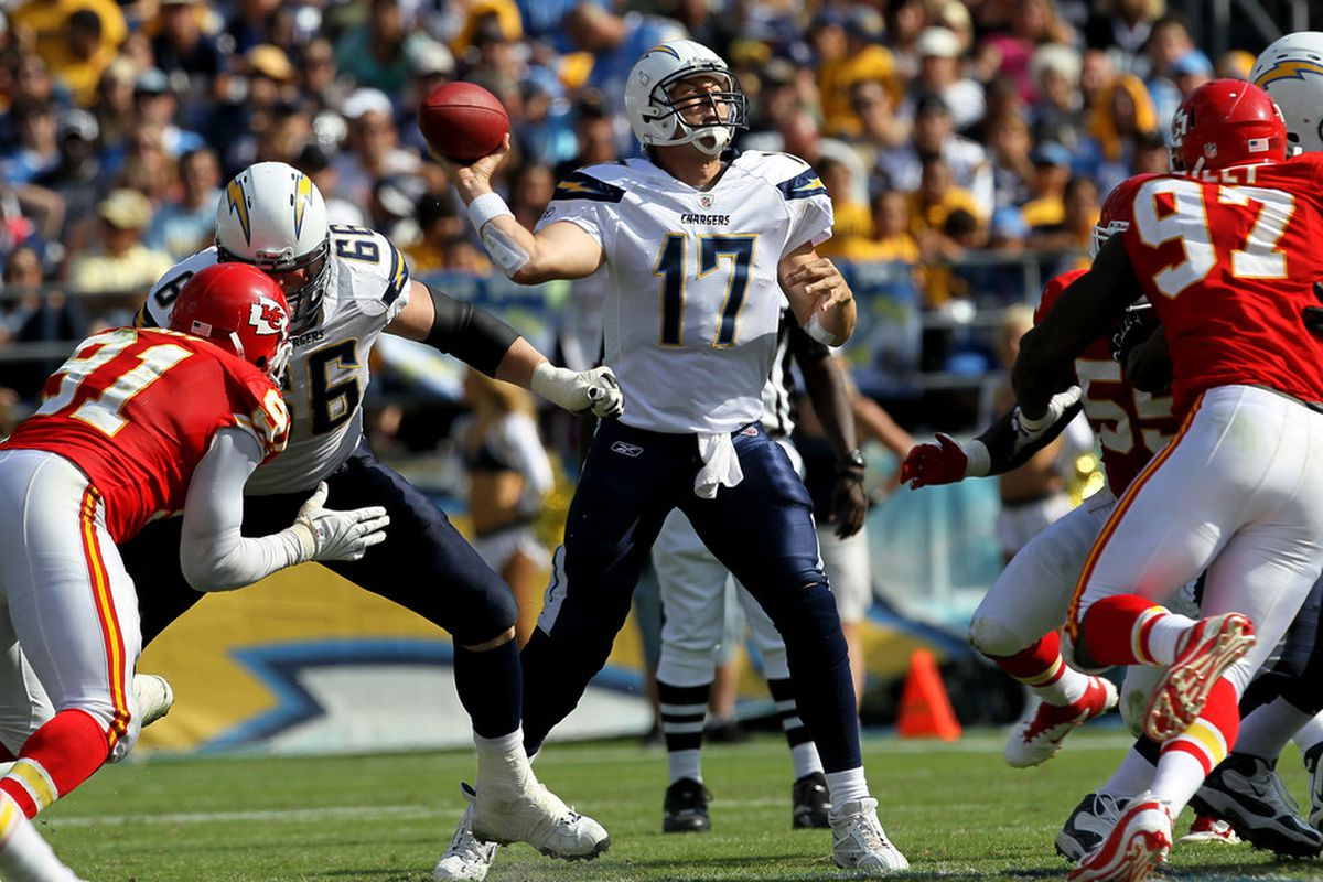 Pictured: Philip Rivers trying so damn hard it actually makes him less effective.  (Photo by Stephen Dunn/Getty Images)