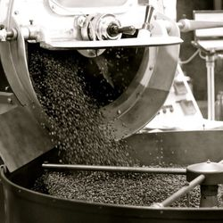 Once Rodolfo decides the beans are done roasting, he dumps them into this fanning element to cool.