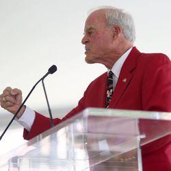 """Spencer F. Eccles says, """"Go Utes!"""" at the grand opening of the new Spence and Cleone Eccles Football Center at the University of Utah in Salt Lake City on Thursday, Aug. 15, 2013."""