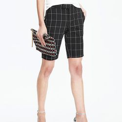 Tailored shorts with a windowpane print cut almost to the knee are perfect for the office.