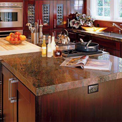 Granite countertop that may emit radiation and radon.