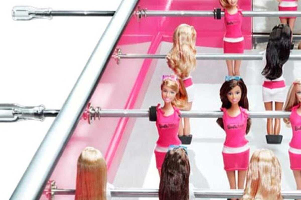"""The $25,000 Barbie Foosball table, via <a href=""""http://blogs.wsj.com/speakeasy/2010/05/05/the-barbie-plastic-collection-would-you-pay-180-for-a-commes-des-garcons-doll/?mod=rss_WSJBlog"""">WSJ</a>"""