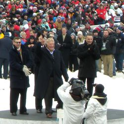 Blackhawks legends Stan Mikita, Bobby Hull and Denis Savard (Tony Esposito partially hidden behind Hull).<em> </em>Must have been weird for Savard to be there after having been fired as coach only a couple of months ago.