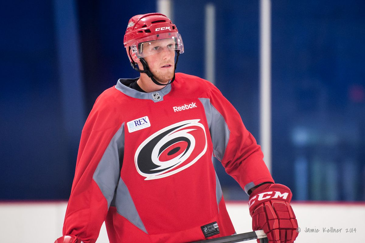 Jared Staal is one of three rookie players suiting up for Carolina Tuesday who have played in an NHL regular season game.