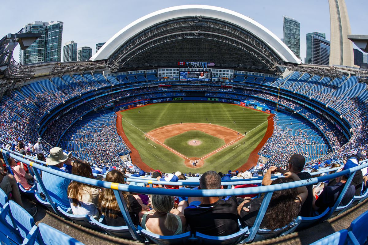 A general view of the Toronto Blue Jays playing the Baltimore Orioles in their MLB game at the Rogers Centre on July 7, 2019 in Toronto, Canada
