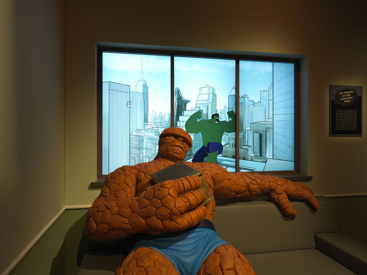 """The Thing (Ben Grimm) awaits all selfie-seekers at the MSI exhibit """"Marvel: Universe of Super Heroes."""" You'll need to keep your mask on for the photo op."""