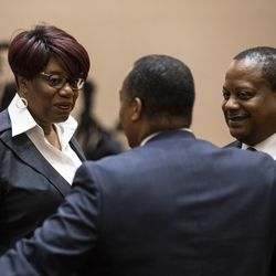 Ald. Pat Dowell (3rd) chats with Alds. Roderick Sawyer (6th) and Gregory Mitchell (7th) before the start of Mayor Lori Lightfoot's first Chicago City Council meeting at City Hall, Wednesday, May 29, 2019.